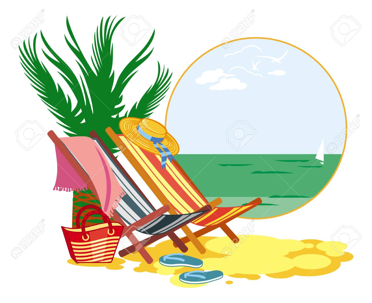 colorful deckchair on the sea shore vector clip art royalty free rh 123rf com store clip art images store clip art
