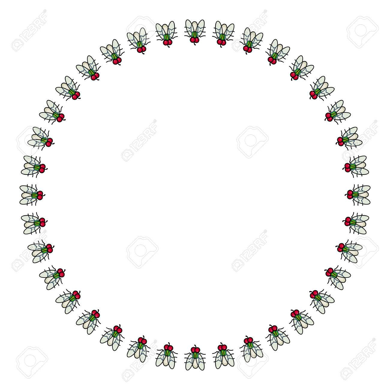 Round Vector Frame With Cartoon Flies. Royalty Free Cliparts ...