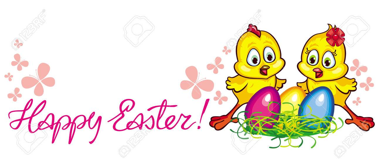 holiday banner with cartoon chickens easter eggs and happy rh 123rf com happy holiday banner clip art Scroll Banner Clip Art Holiday