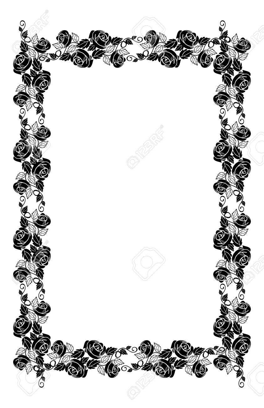 ... Hochzeit Und Andere Einladungen Oder Grußkarten. Jahrgang Vertikalen  Floralen Rahmen Mit Rosen Silhouette. Schwarz Weiß Vektor Design