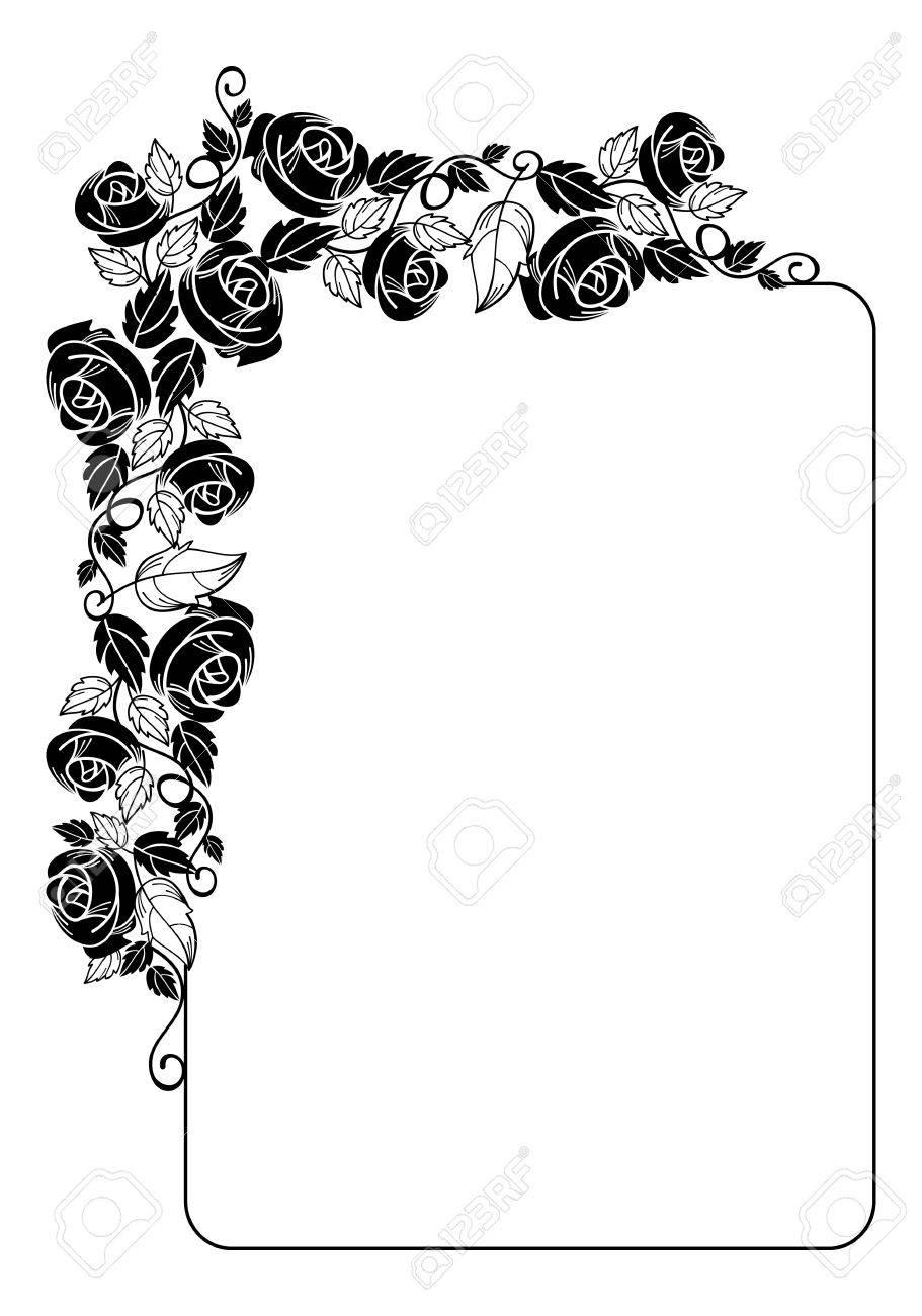 Vertical Marco Floral De La Vendimia Con Las Rosas Silueta. Elemento ...