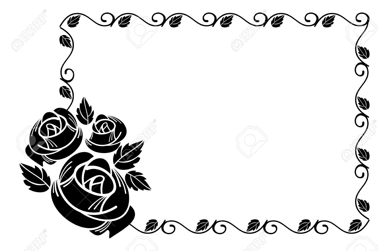 Vector vintage horizontal floral frame with roses silhouette black and white vector design element for advertisements flyer web wedding and other