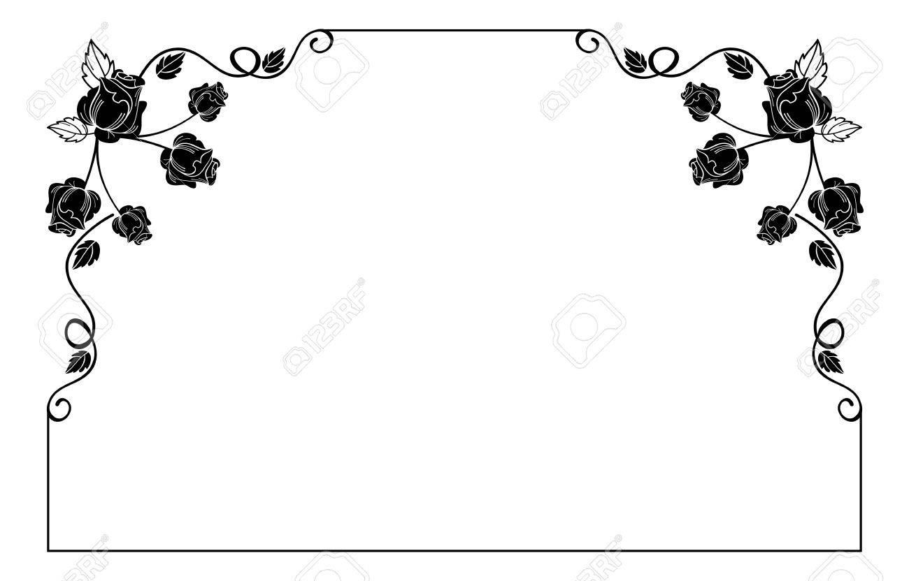 ... Hochzeit Und Andere Einladungen Oder Grußkarten. Jahrgang Horizontale  Blumenfeld Mit Rosen Silhouette. Schwarz Weiß Vektor Design