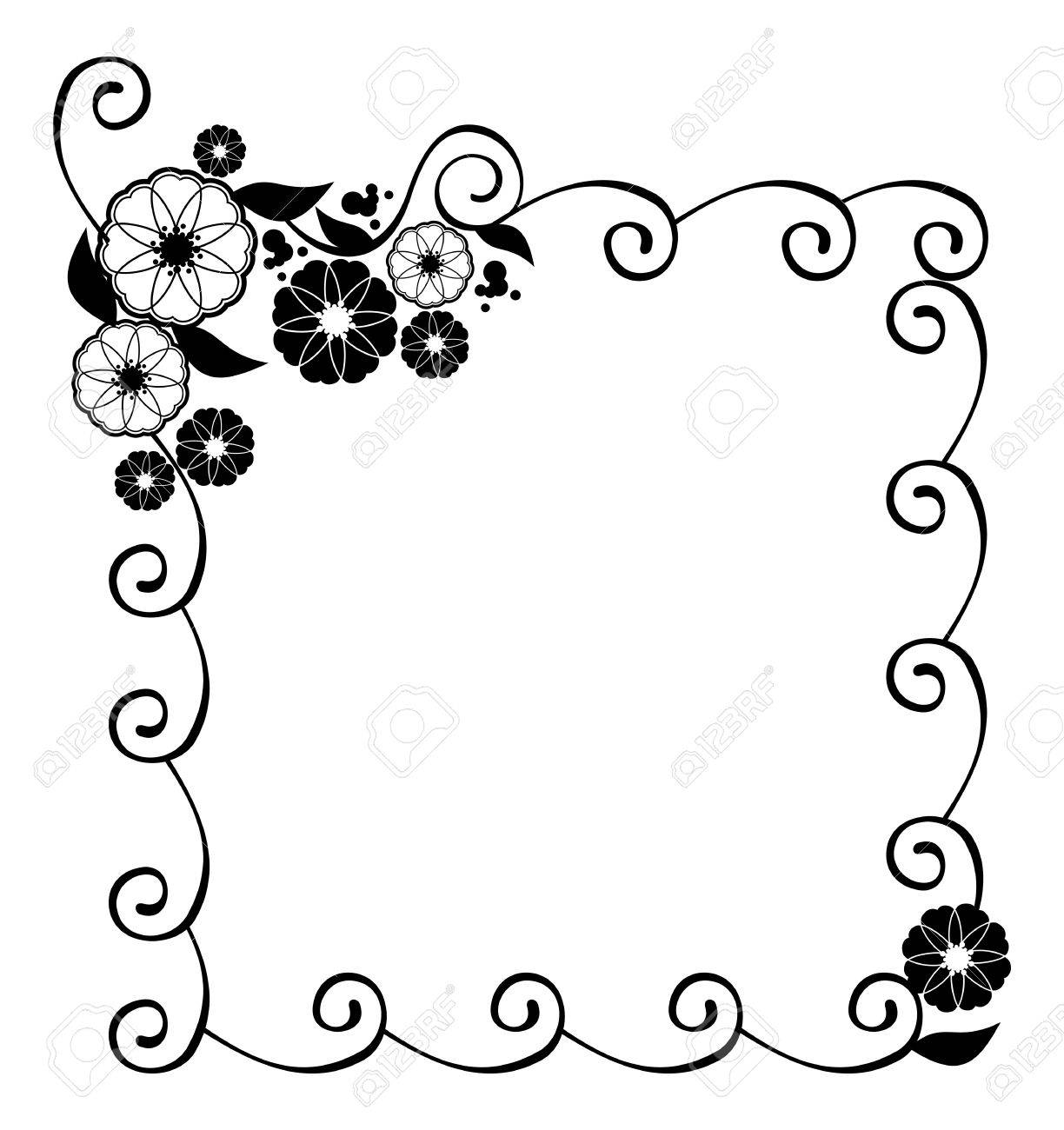 flower frame decorative black and white frame with floral elements rh 123rf com decorative simple frame clipart decorative oval frame clipart