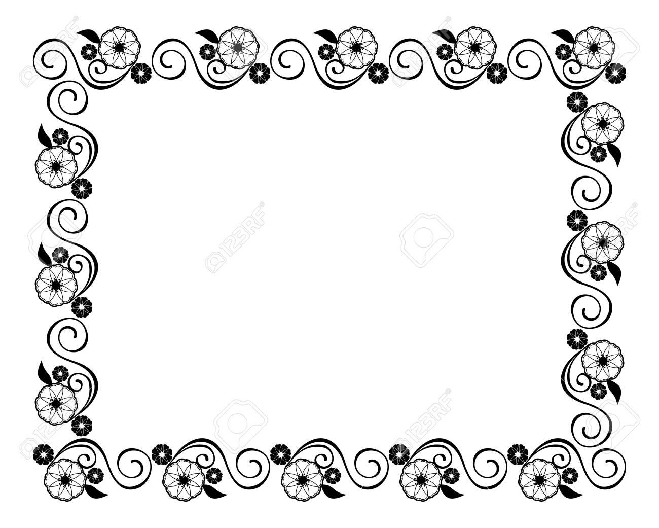 Blumenrahmen. Dekorativer Schwarzweiss Rahmen Mit Florenelementen