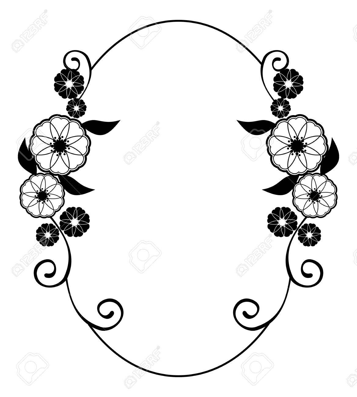 Round Flower Frame. Decorative Flowers Arranged On A Shape Of ...