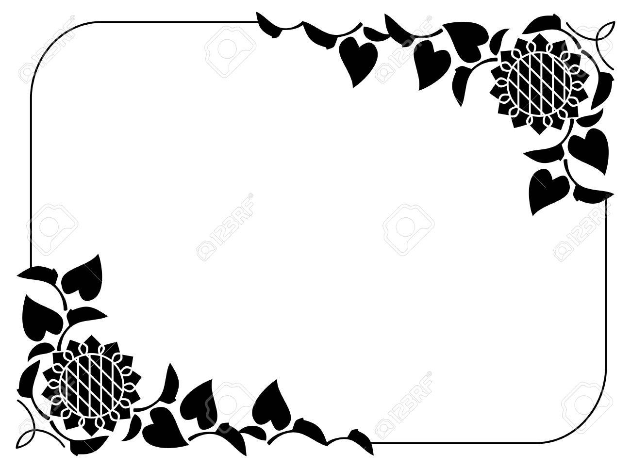 Black And White Horizontal Frame With Decorative Sunflowers Silhouettes Vector Clip Art Stock