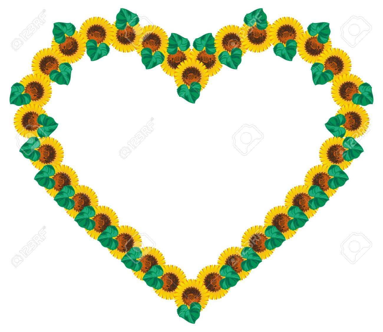 heart shaped frame with sunflowers vector clip art royalty free rh 123rf com
