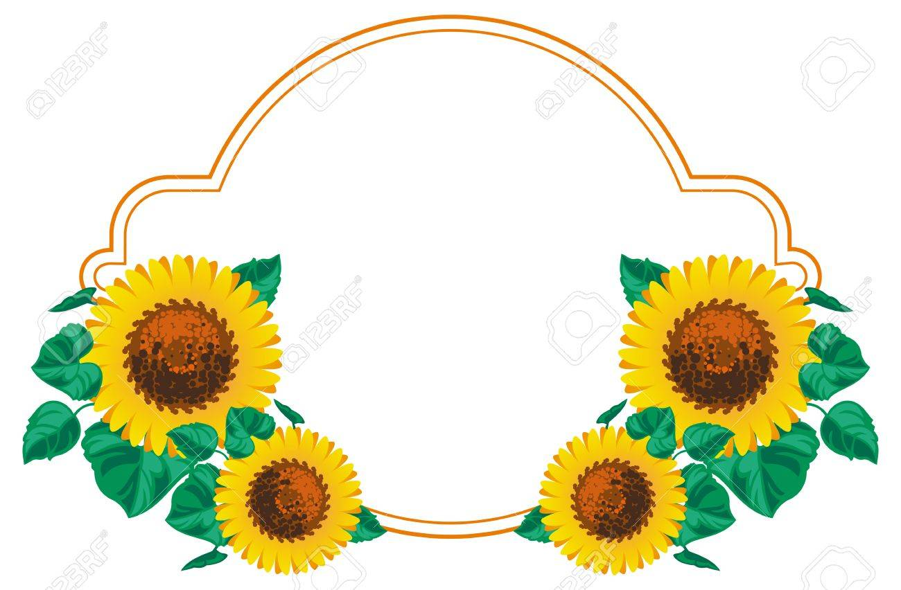 horizontal frame with sunflowers vector clip art royalty free rh 123rf com sunflowers clip art free sunflower clip art outline