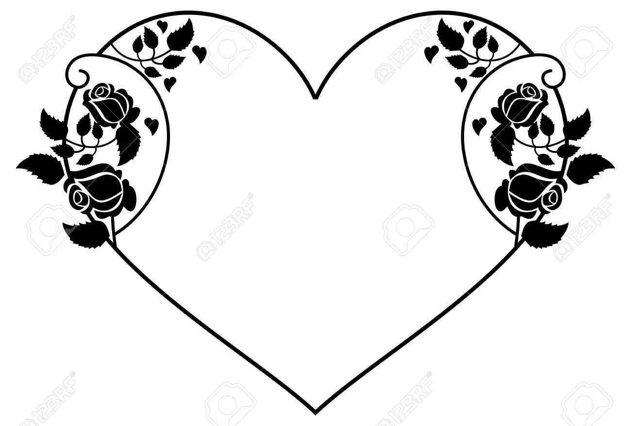 Line Art Rose Flower : Heart shaped silhouette frame with roses vector clip art royalty