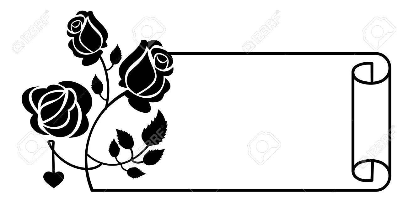 Schwarz-Weiß-Rahmen Mit Rosen Silhouetten. Vector Clip Art ...
