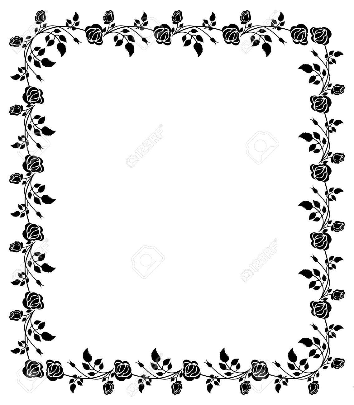 Black And White Frame With Roses Silhouettes. Vector Clip Art ...