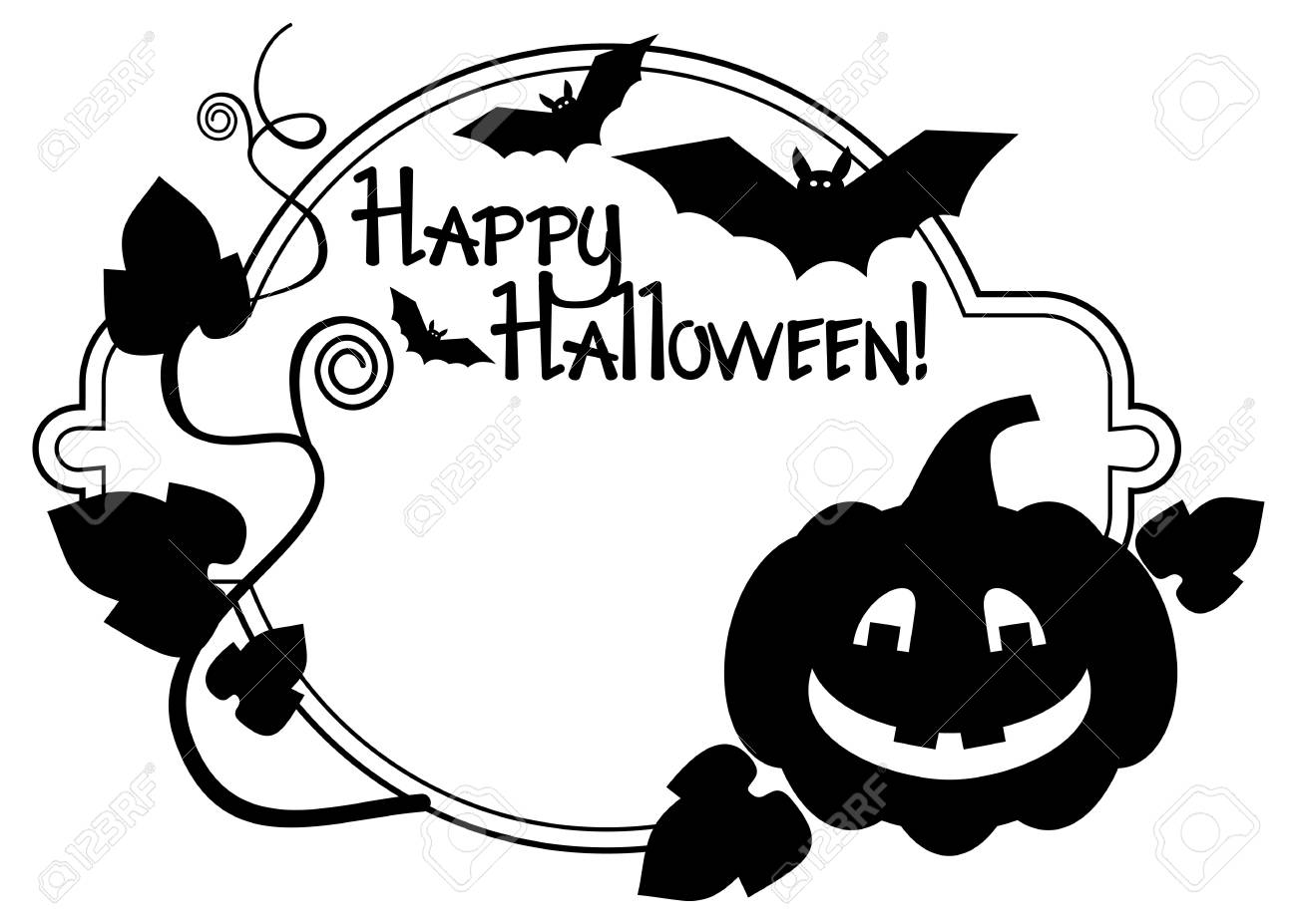 Halloween Vector Black And White.Black And White Frame With Halloween Pumpkin And Text