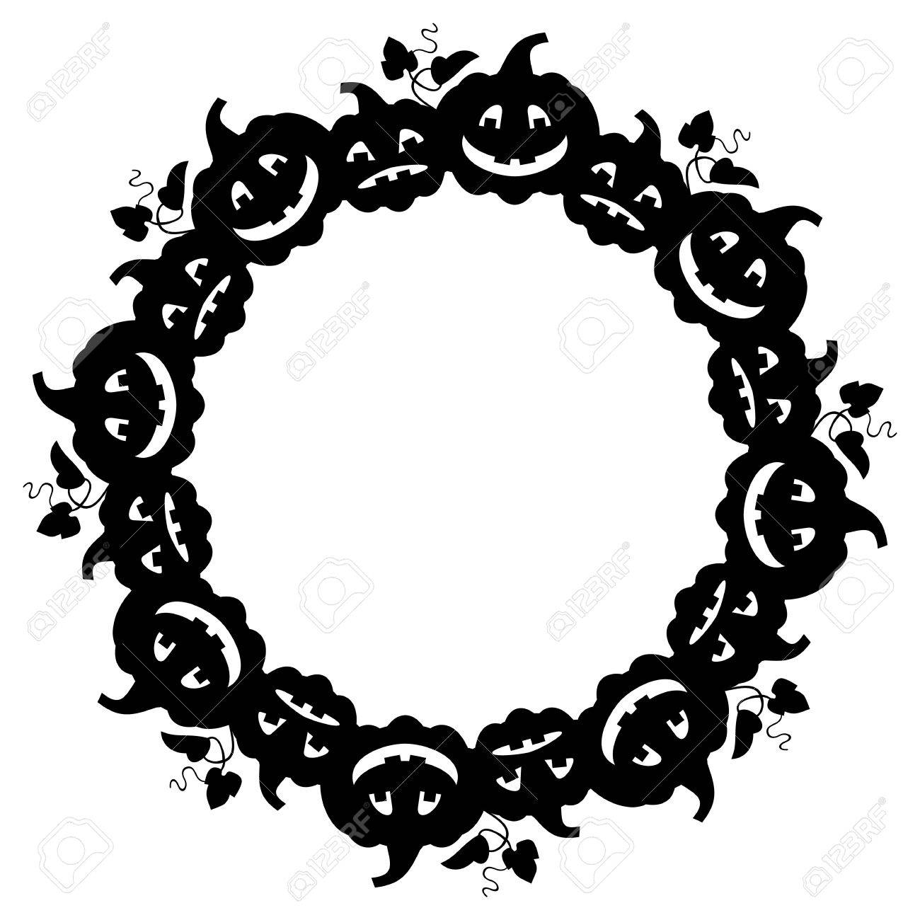 Halloween Vector Black And White.Black And White Round Frame With Halloween Pumpkin Silhouette