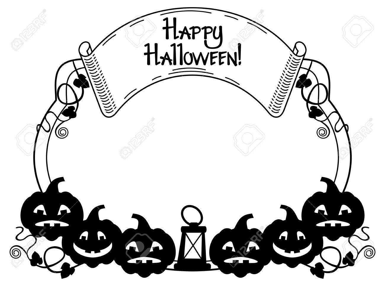 black and white frame with halloween pumpkin and text happy rh 123rf com halloween vector files halloween vector patterns