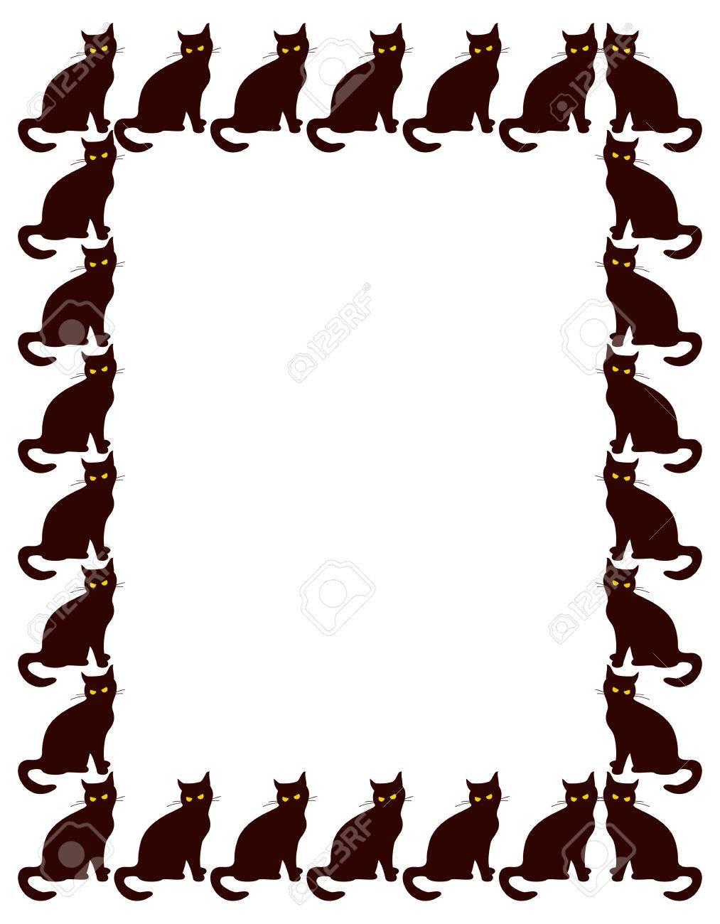 Vertikale Rahmen Mit Silhouette Der Schwarzen Katze. Custom-Design ...
