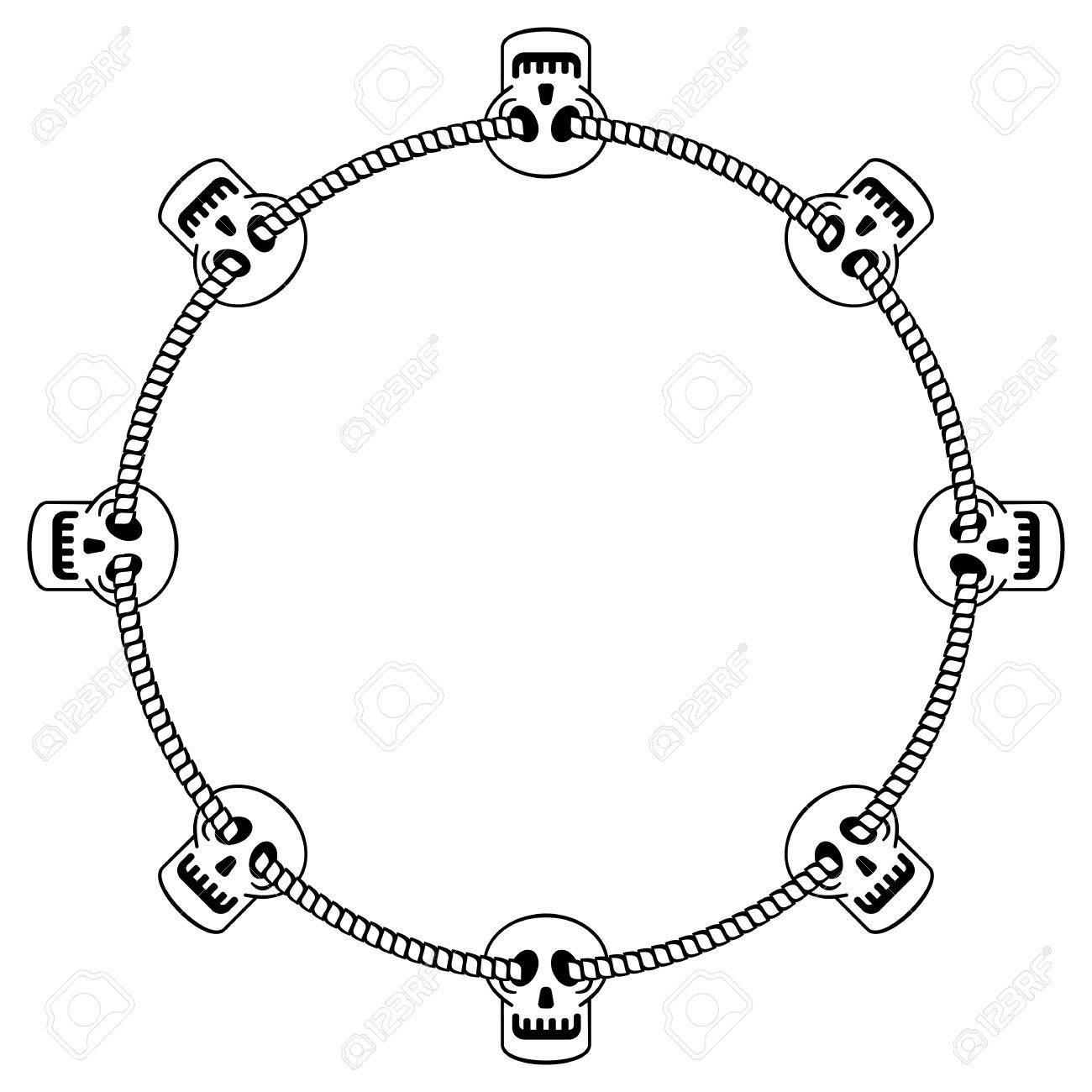 round black and white frame with skull vector clip art royalty rh 123rf com frame vector download frame vectors png