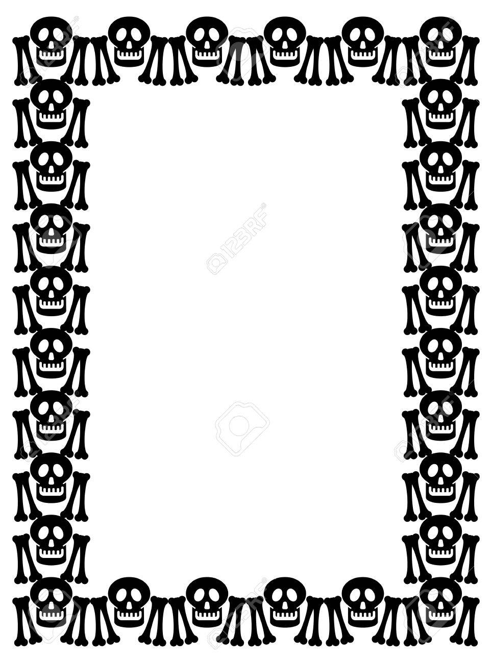Black And White Frame With Skull. Vector Clip Art. Royalty Free ...