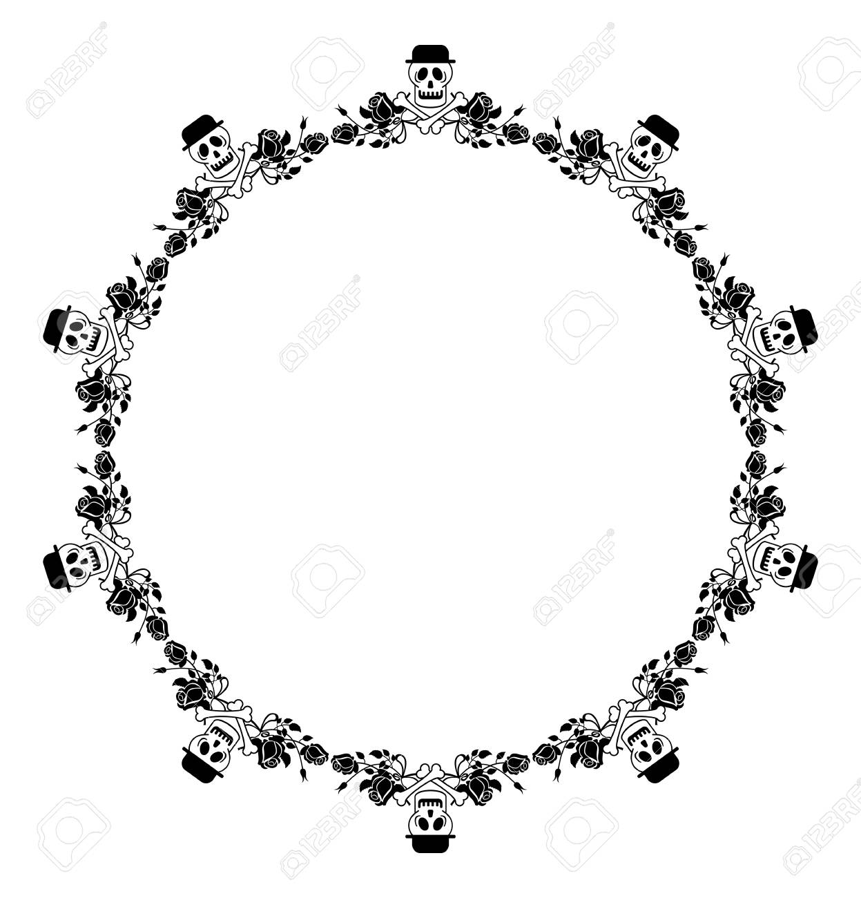 Round Black And White Frame With Skull In Hat And Roses. Vector ...
