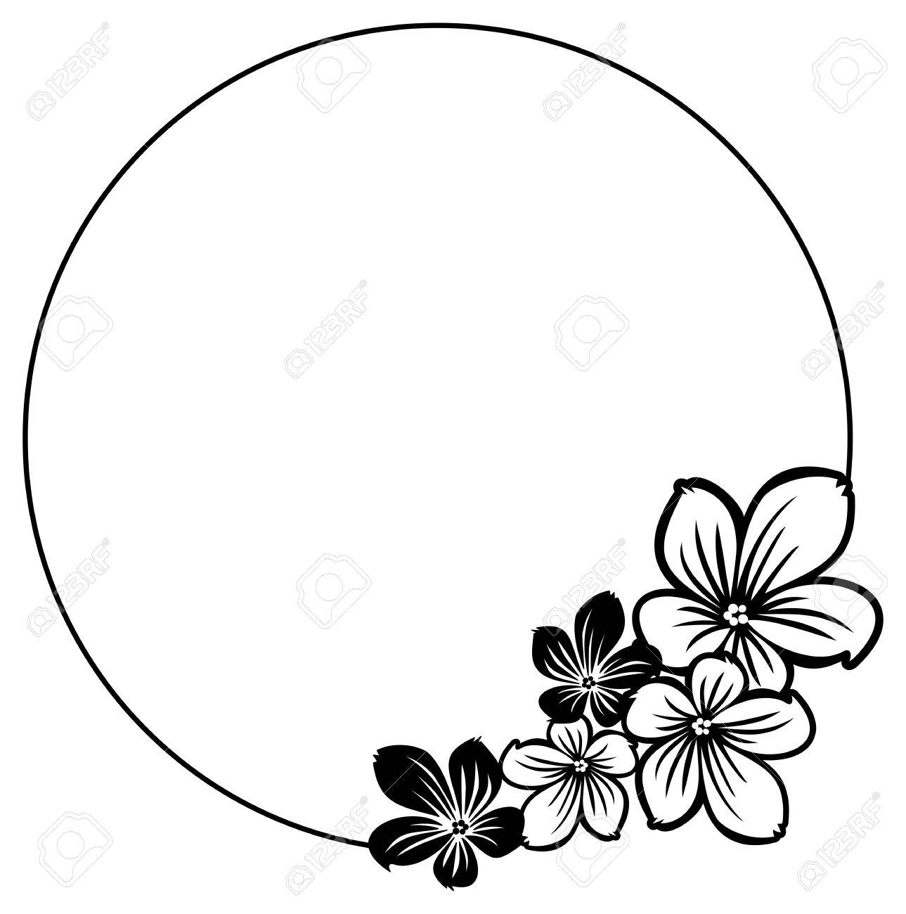 black and white round frame with abstract flowers silhouettes rh 123rf com tropical flower silhouette vector lotus flower silhouette vector