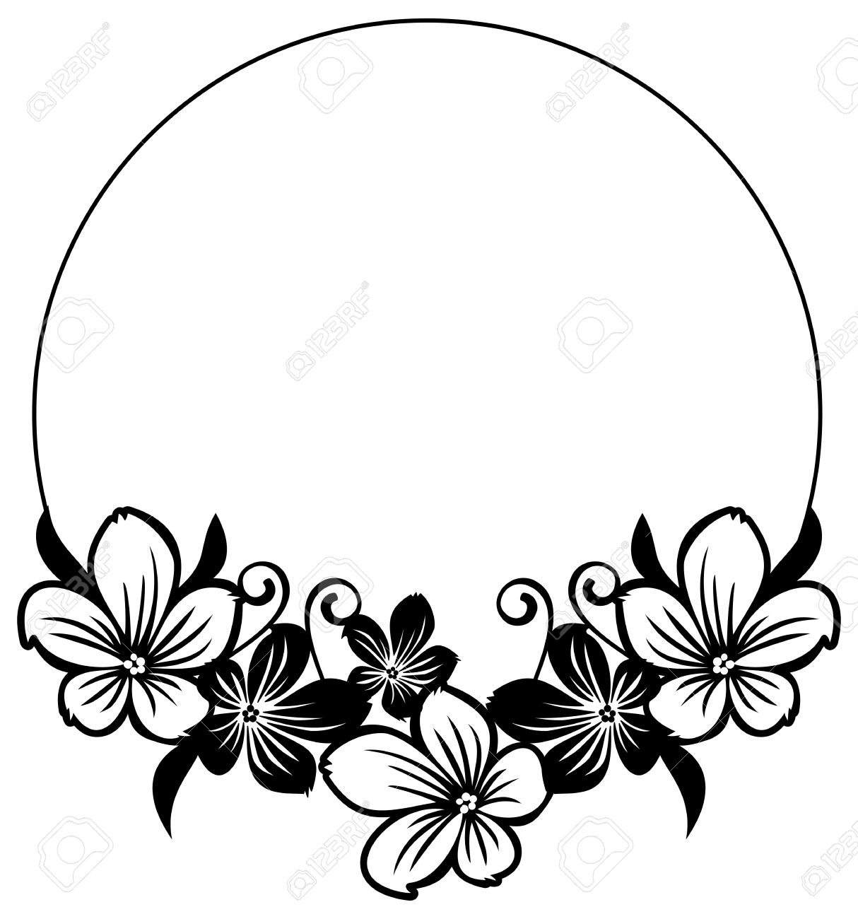 black and white round frame with abstract flowers silhouettes rh 123rf com black and white flower clipart png black and white flower clipart images
