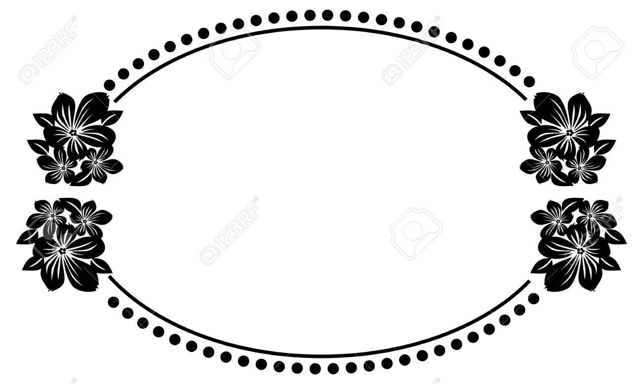 Black And White Oval Frame With Abstract Flowers Silhouettes ...