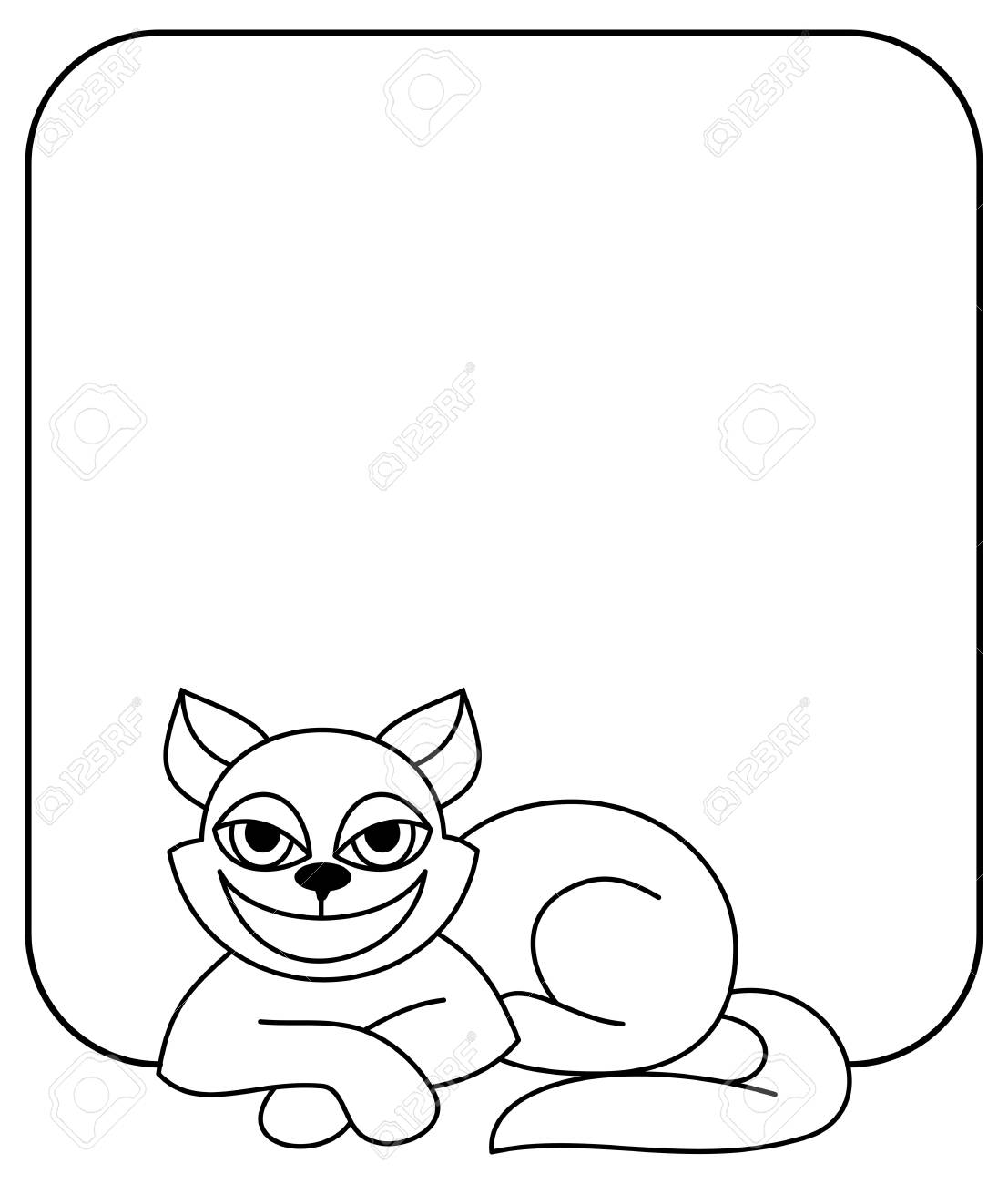 Outline Frame With Cat. Vector Clip Art Royalty Free Cliparts ...
