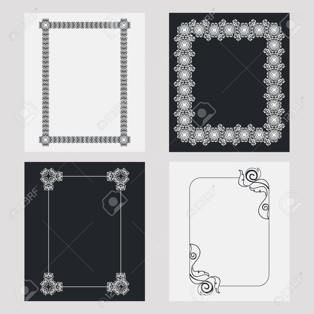 set of silhouette vertical frames design element for banners