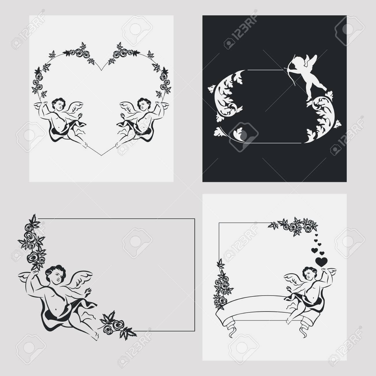 Set Von Silhouette Rahmen Mit Engel. Design-Element Für Banner ...