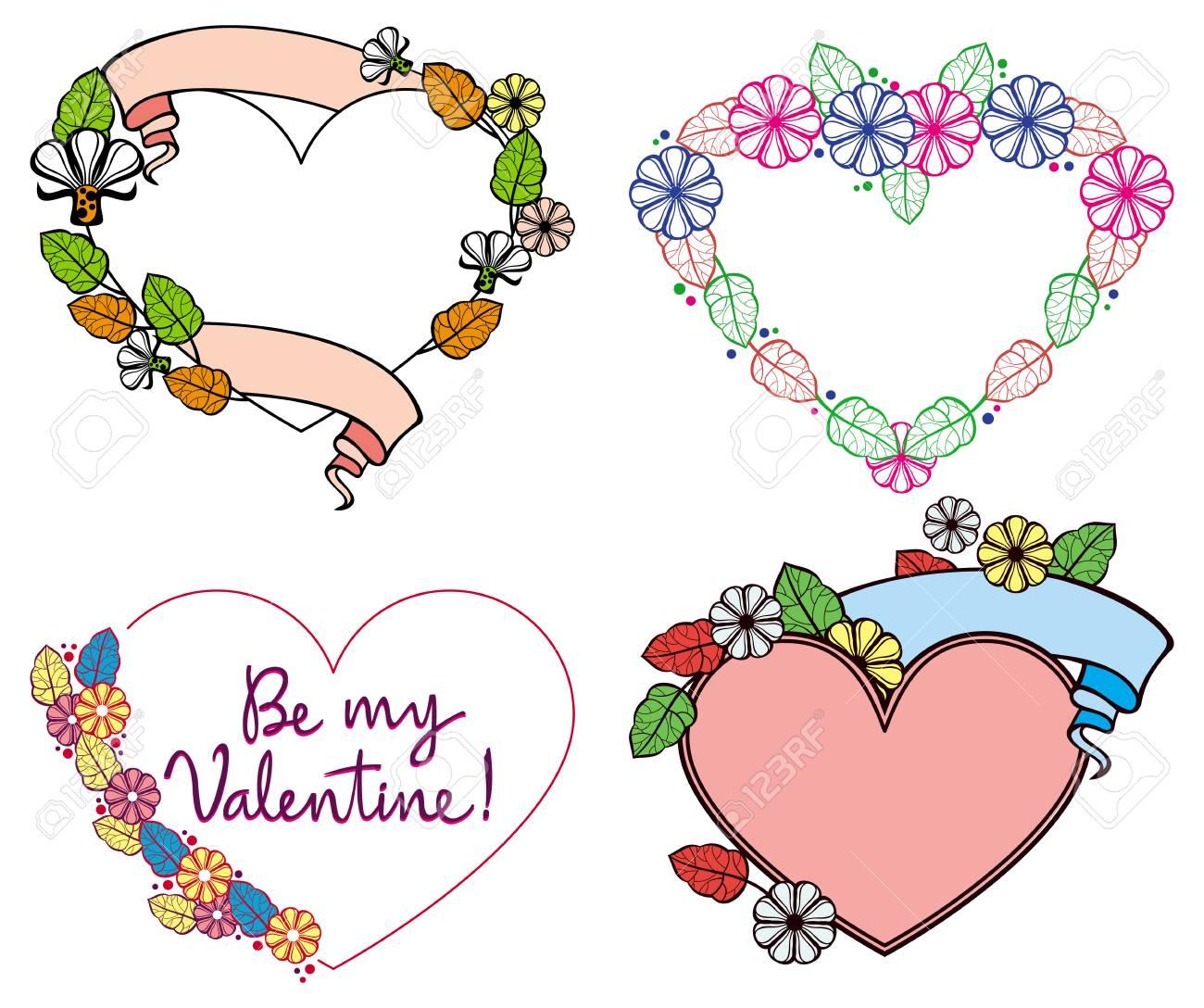 Satz Von Farbe Herzförmigen Floralen Rahmen. Vector Clip Art ...