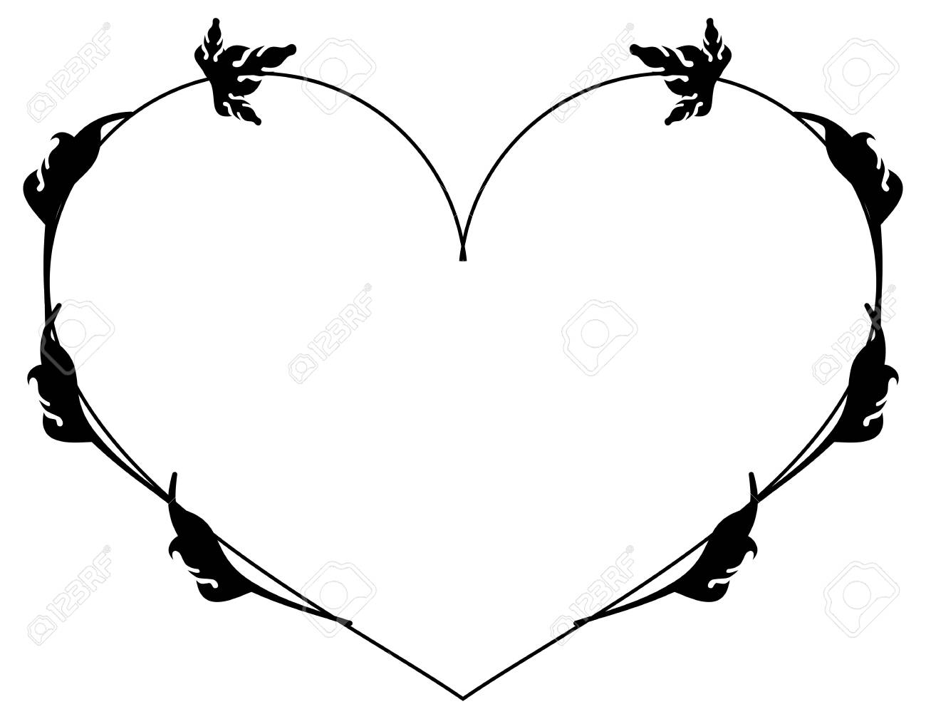 Heart-shaped Silhouette Frames. Vector Clip Art. Royalty Free ...