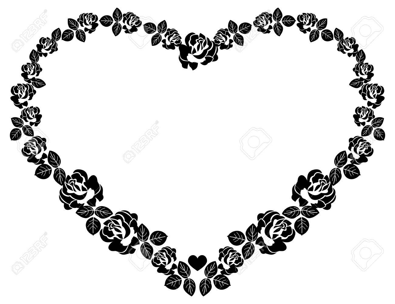 Heart-shaped Silhouette Frames With Roses. Vector Clip Art Royalty ...