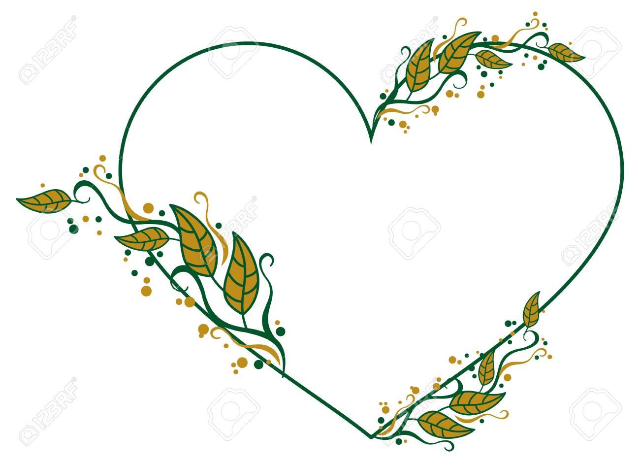Herzförmige Rahmen Mit Farbe Dekorativen Blättern. Vector Clip Art ...