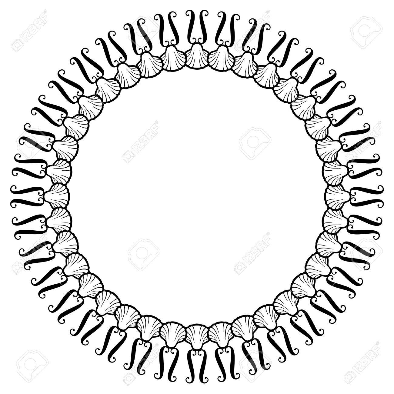 Schwarze Und Weiße Runde Rahmen Mit Muscheln. Vector Clip Art ...