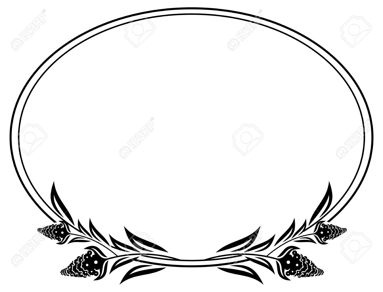 black and white oval frame with decorative flowers silhouettes rh 123rf com decorative border clip art black and white