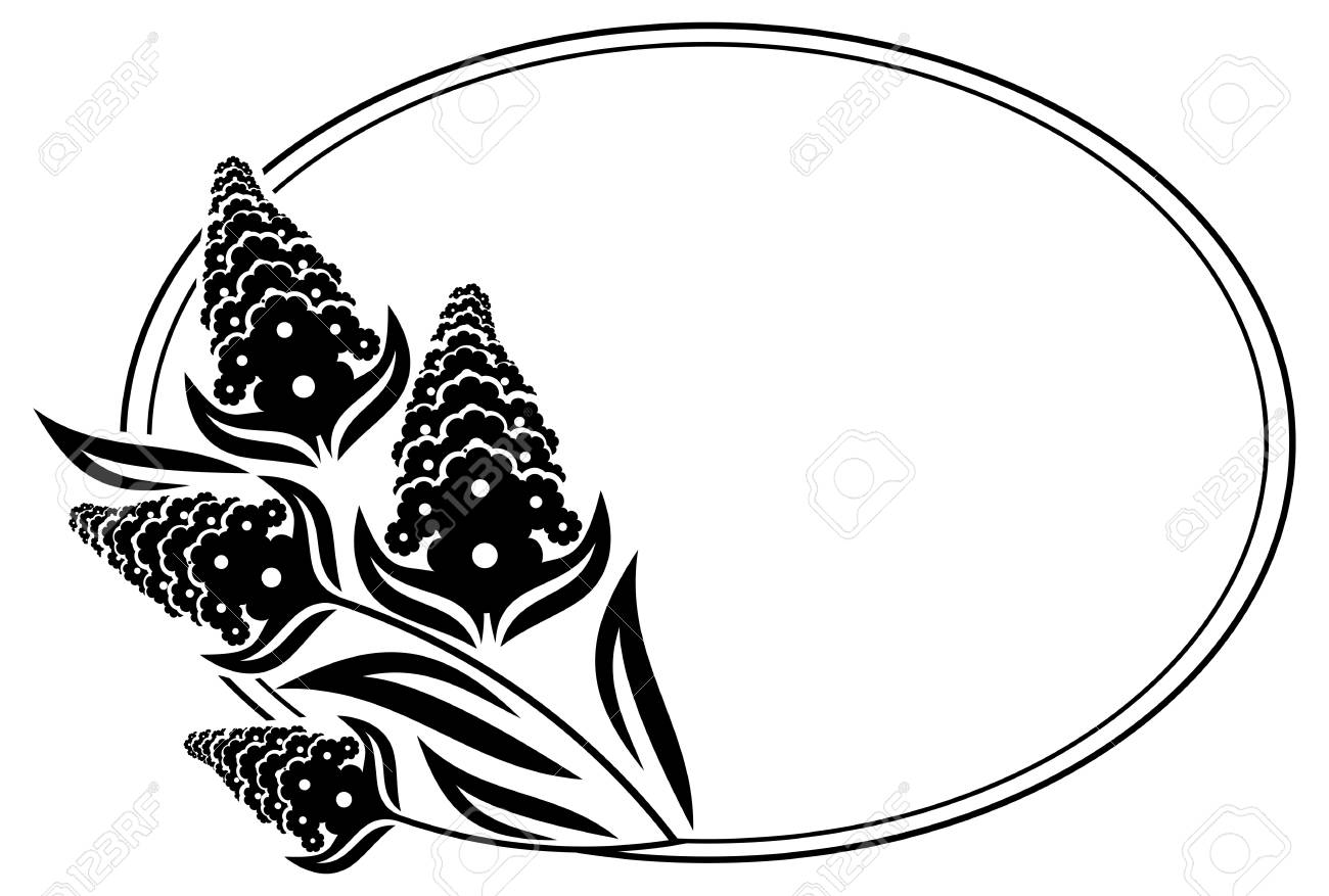 Black And White Oval Frame With Decorative Flowers Silhouettes