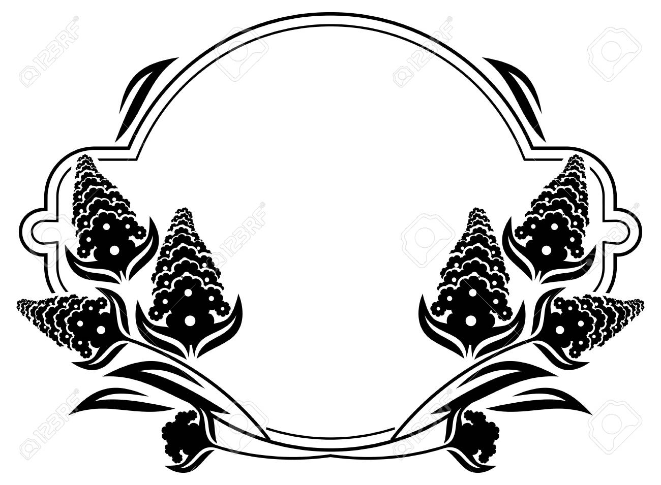 Round Label With Black And White Decorative Flowers Silhouettes