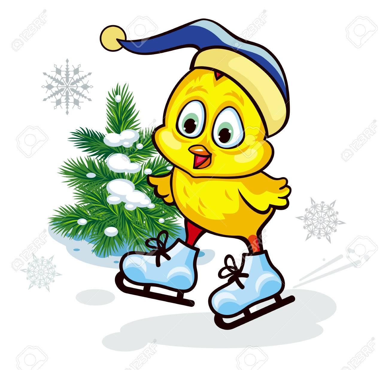変な帽子のアイス スケートのかわいい鶏 ベクター クリップ アートの
