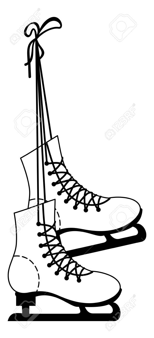 Ice Skate Boots Contour Vector Clip Art Royalty Free Cliparts