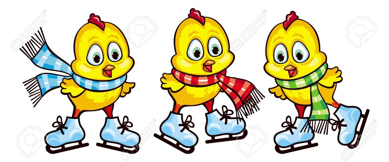 3 つのかわいい鶏アイス スケートしますベクター クリップ アートの