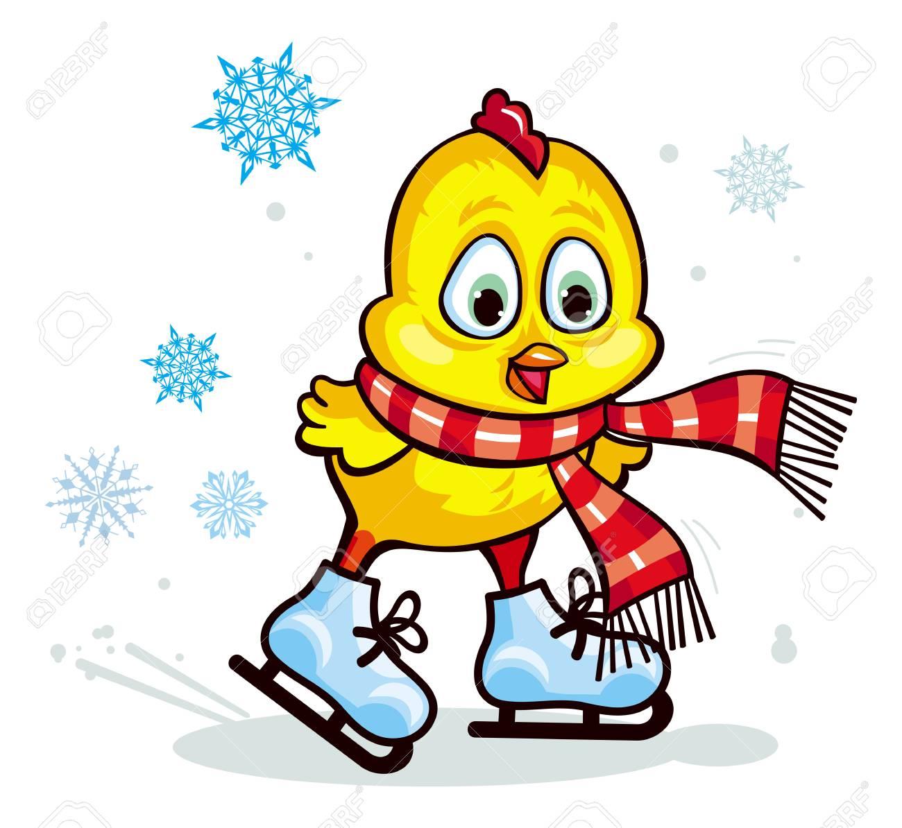 ストライプ スカーフ アイス スケートのかわいい鶏冬の休日の図