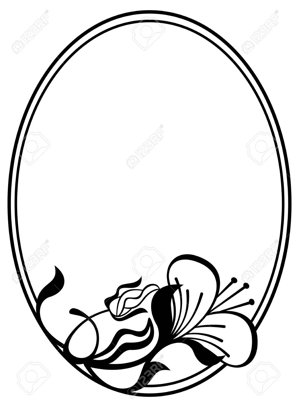 Silhouette Oval Frame With Abstract Flower Ornament. Design Element ...