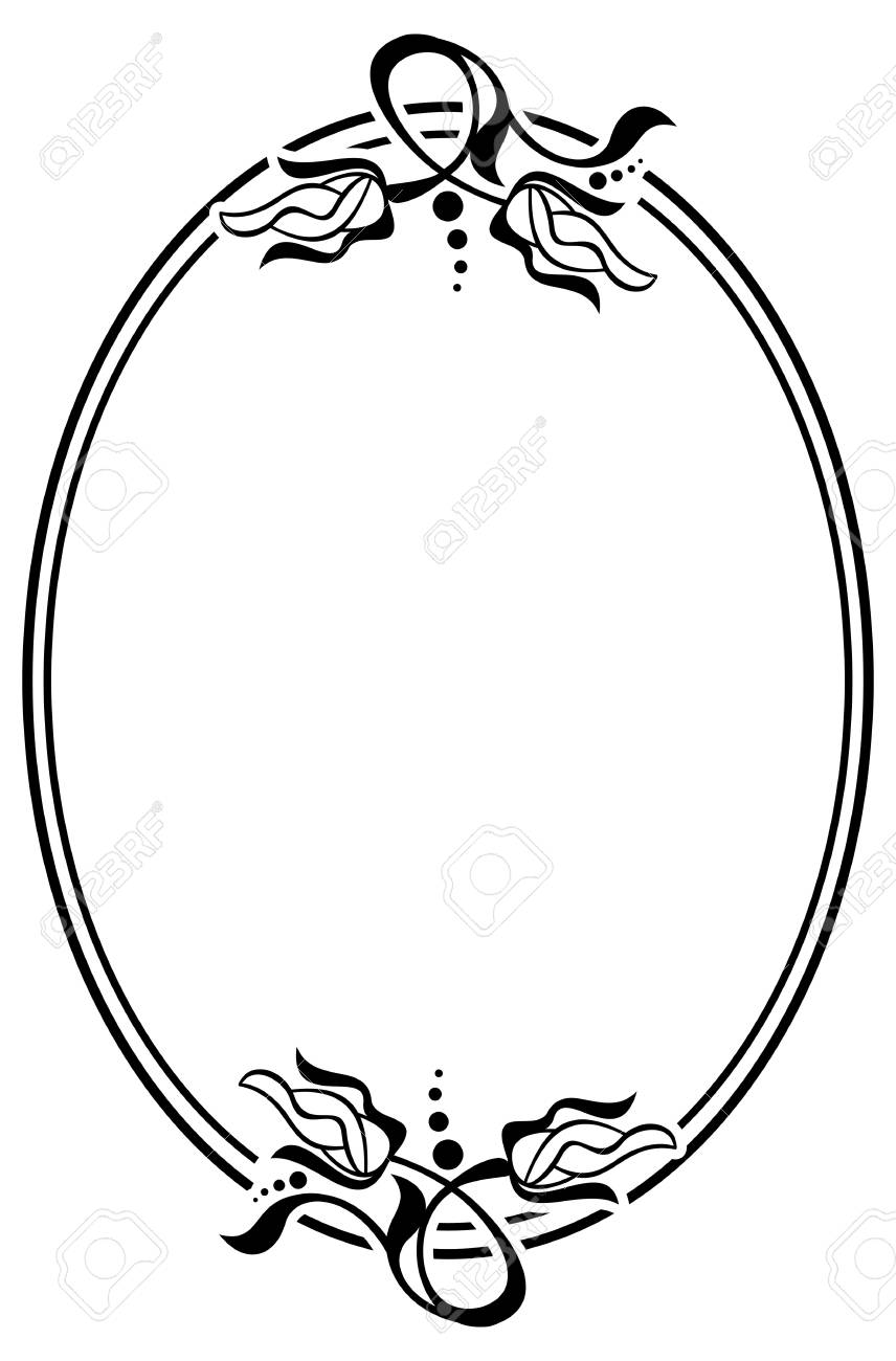 Vector Template Silhouette Oval Frame With Abstract Flower Ornament Design Element For Banners Labels Greeting