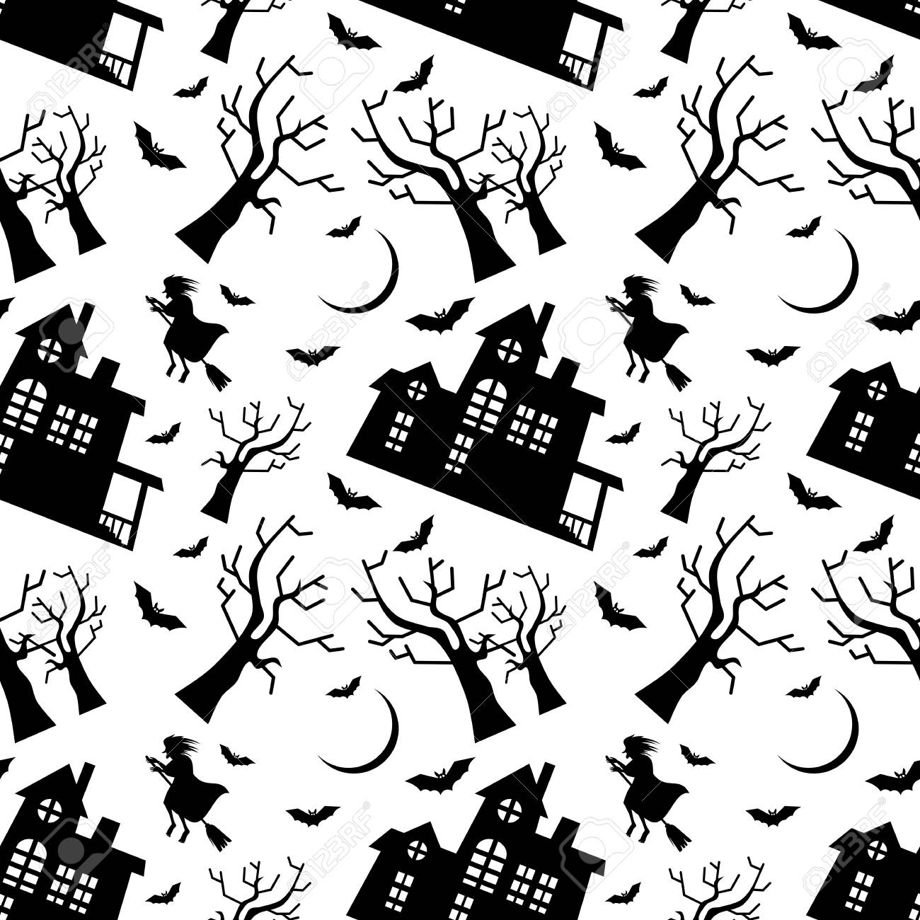 seamless pattern with old house silhouette and flying witch halloween background vector clip art