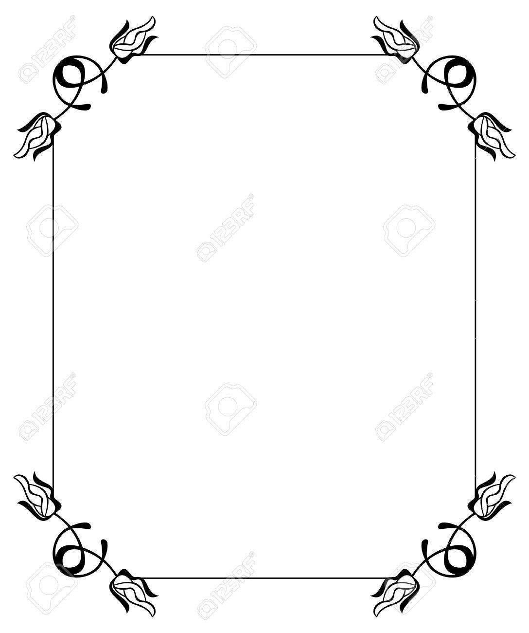 Silhouette Flower Frame. Simple Black And White Frame With Abstract ...