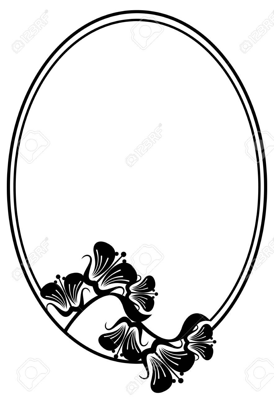 Beautiful Silhouette Frame. Simple Black And White Oval Frame ...
