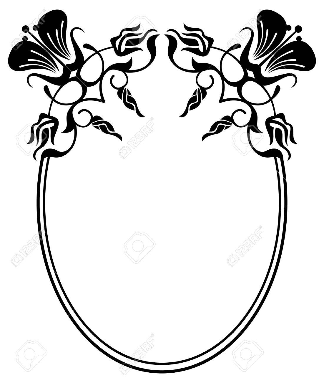 Beautiful Silhouette Frame Simple Black And White Oval With Abstract FlowersVector Clip