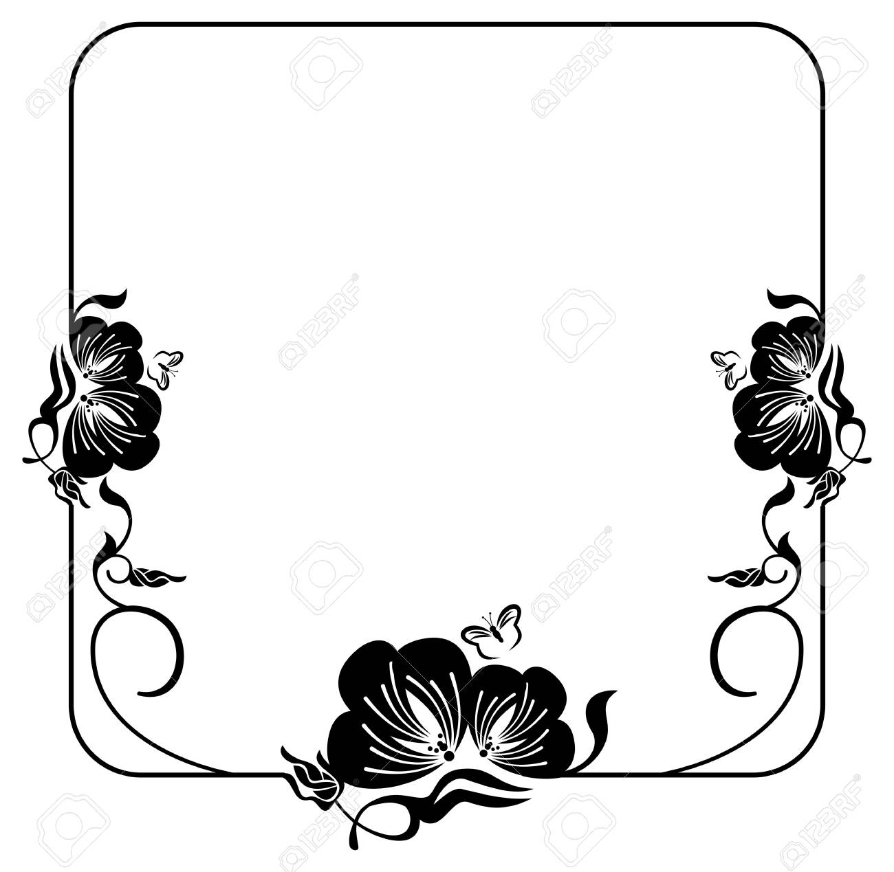 Square silhouette flower frame simple black and white frame square silhouette flower frame simple black and white frame with abstract flowers stock vector mightylinksfo Choice Image