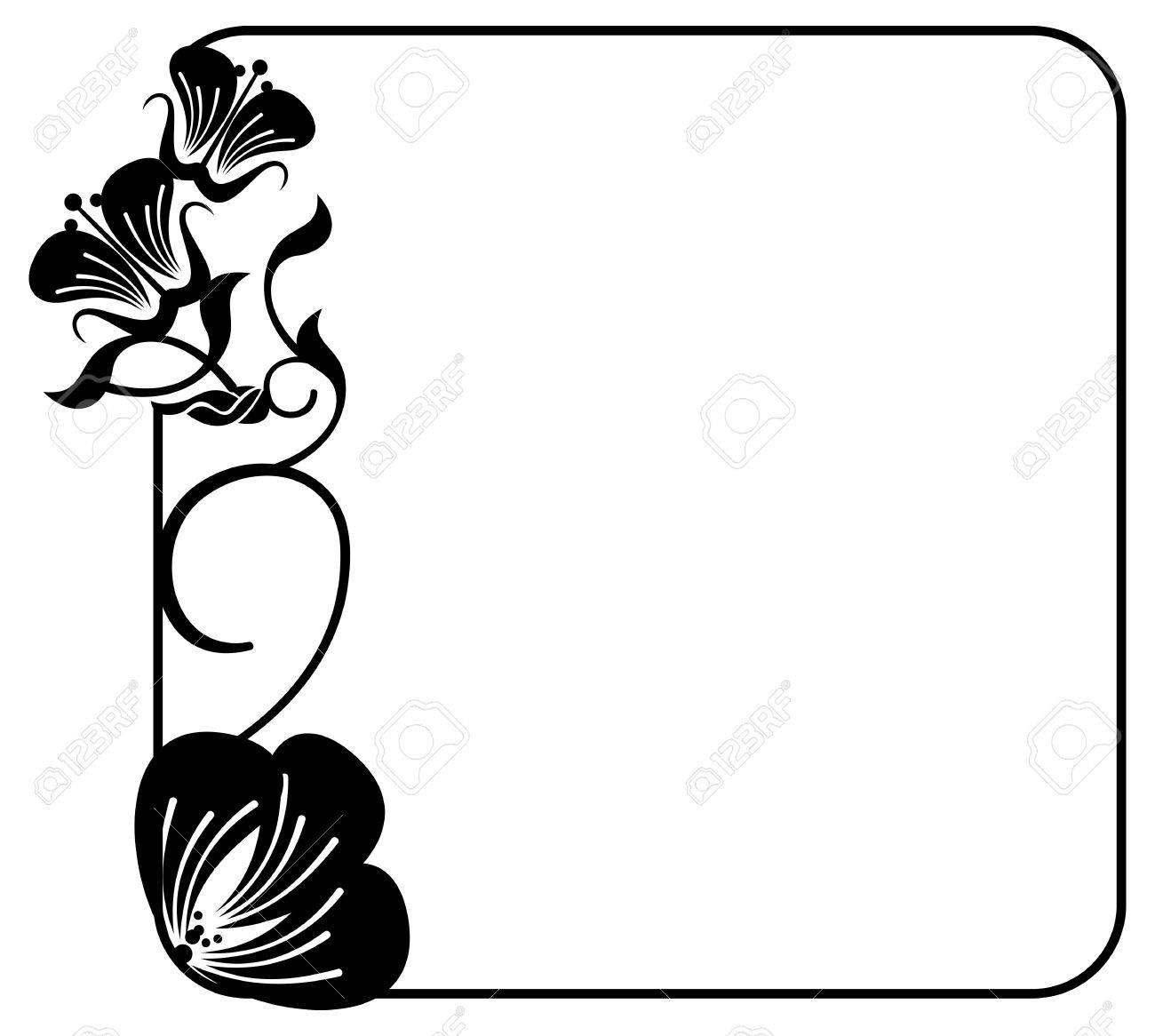 Square silhouette flower frame simple black and white frame square silhouette flower frame simple black and white frame with abstract flowers stock vector mightylinksfo