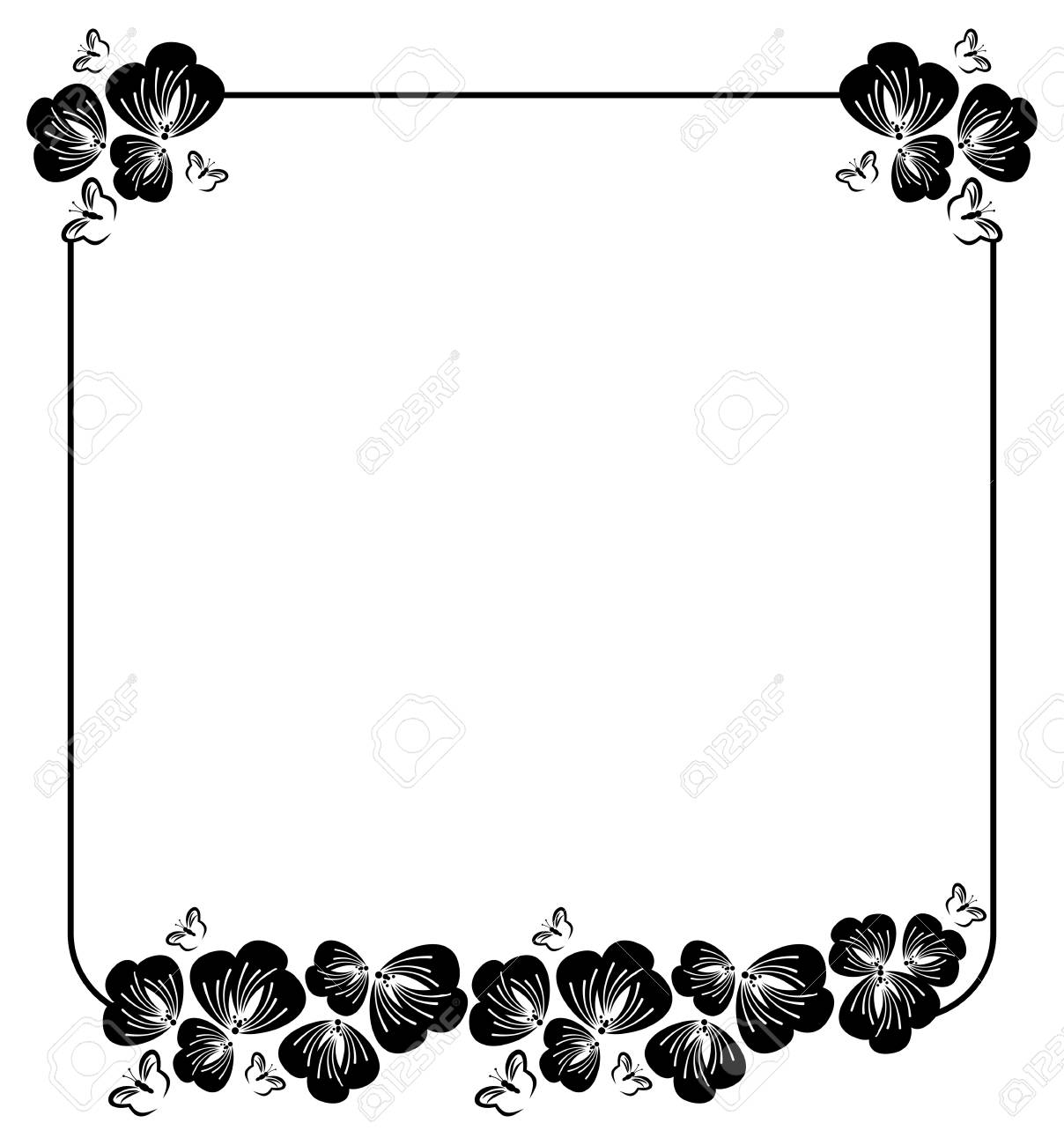Square Silhouette Flower Frame Simple Black And White With Abstract Flowers Stock Vector